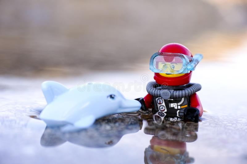 Lego scuba diver and dolphin in nature stock photo