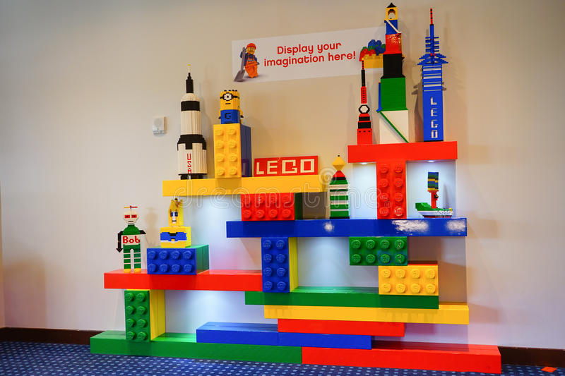 Lego spaceship. Colorful spaceship and people made by Lego stock photography