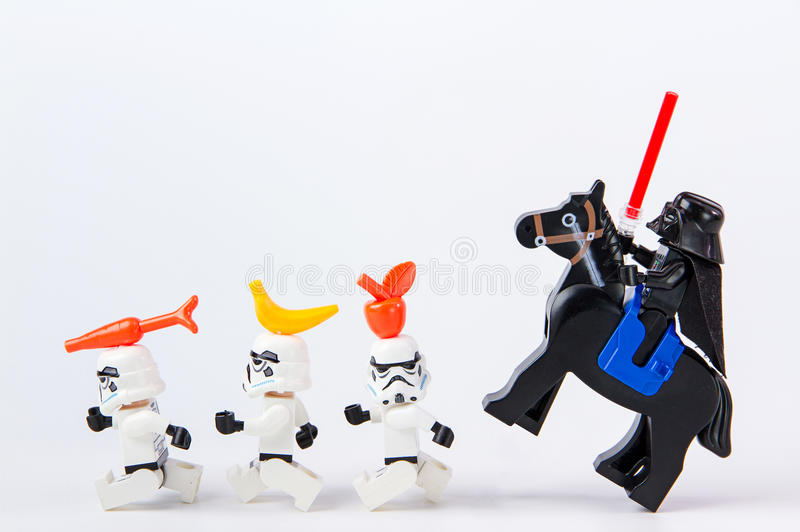 Lego star wars fruits placed on a head. Nonthabure, Thailand - June, 28, 2016: Lego star wars fruits placed on a head.The lego Star Wars mini figures from movie stock images
