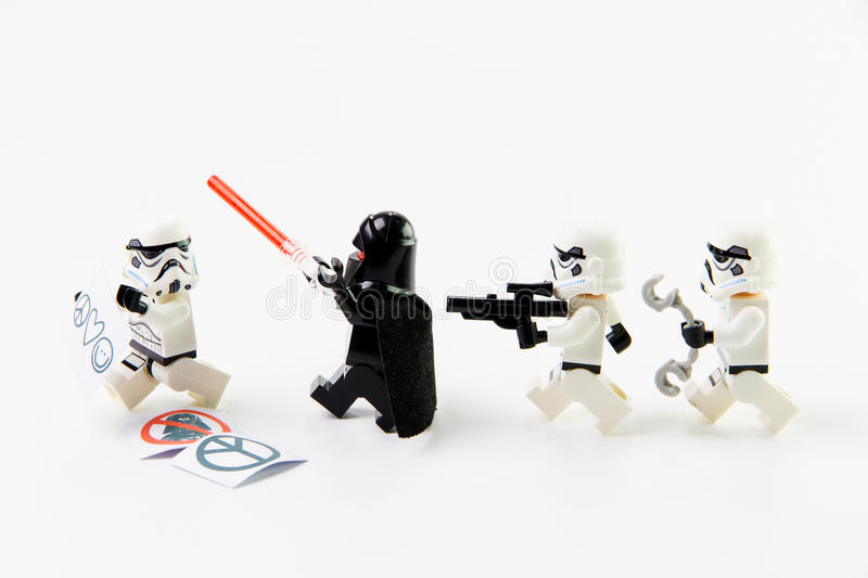 The lego Star Wars movie Stomtrooper mini figures. stock photos