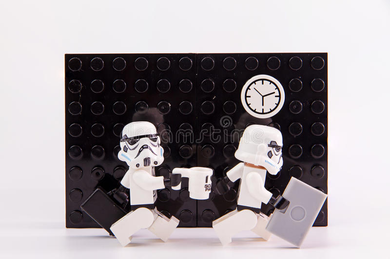 Lego star wars working time. royalty free stock photography