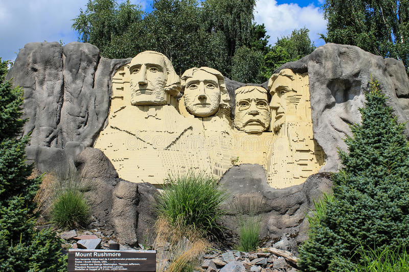Lego statue of Mount Rushmore royalty free stock images