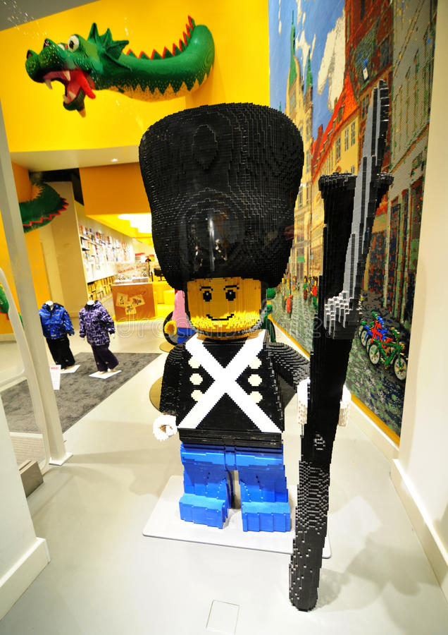 Lego store. Copenhagen, Denmark - 18 Dec, 2011: Soldier made by Lego blocks in toy store in central Copenhagen royalty free stock images