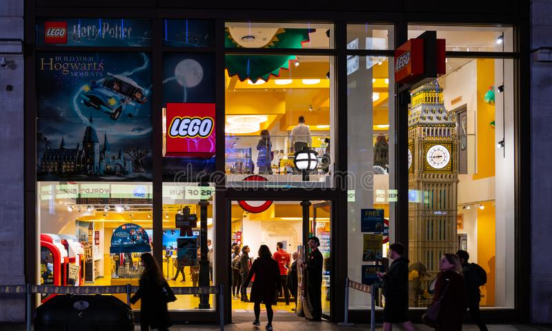 Lego Store London. London, United Kingdom - October 18 2018: The Frontage of the Lego Store in Leicester Square royalty free stock images