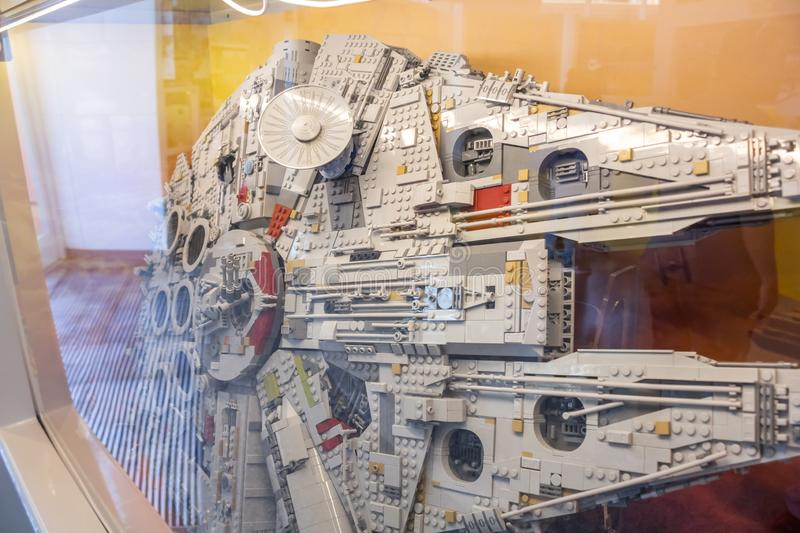 Lego Millenium Falcon display. At the Lego Store, there is a large Star Wars Millennium Falcon model exhibit royalty free stock photography