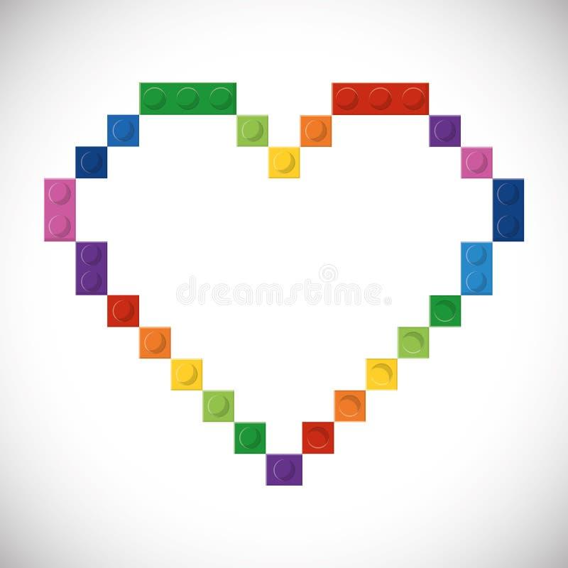 Lego symbol Abstrakt hjärtadiagram som stylized swirlvektorn för bakgrund det dekorativa diagrammet vågr royaltyfri illustrationer