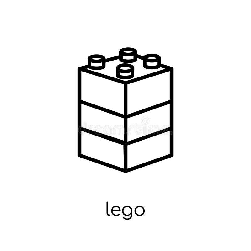 Lego symbol Moderiktig modern plan linjär vektorlegosymbol på vitt b royaltyfri illustrationer