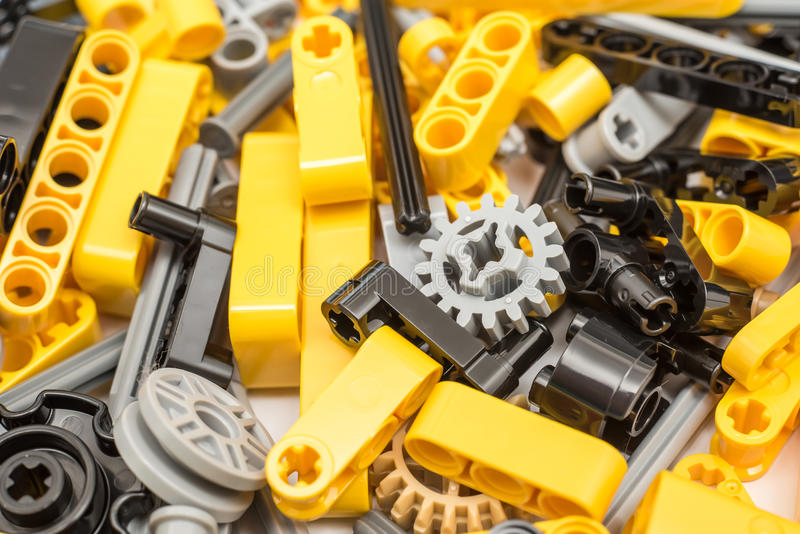 Lego Technic Pieces Pile Close oben stockbilder