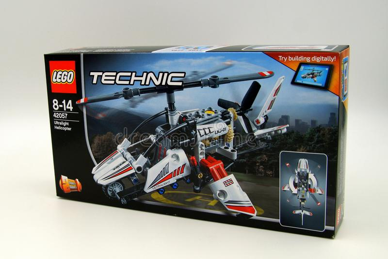 Lego Technic Ultralight Helicopter Retail Box. Amsterdam, The Netherlands - February 11, 2018: Lego Technic Ultralight Helicopter Retail Box against a white royalty free stock photos
