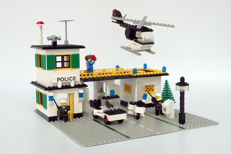 Lego Town no fijó ningún 381, cuartel general de la policía fotografía de archivo libre de regalías