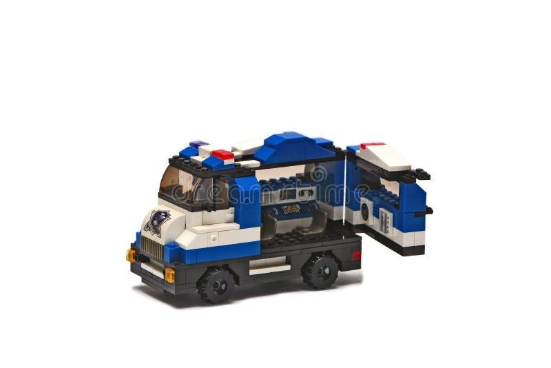 lego, un giocattolo dei bambini - volante della polizia fotografia stock libera da diritti
