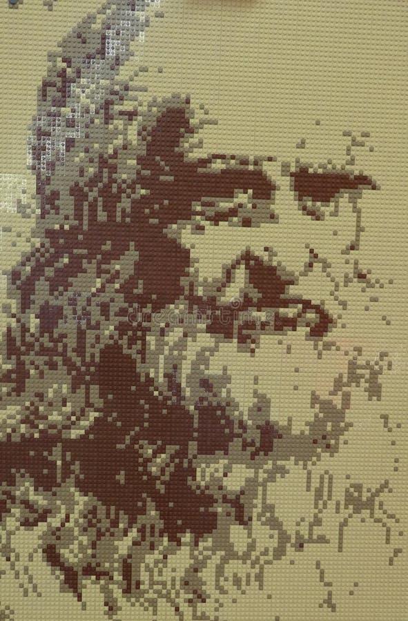 LEGO-utställning, kopior av berömda målningar royaltyfria foton
