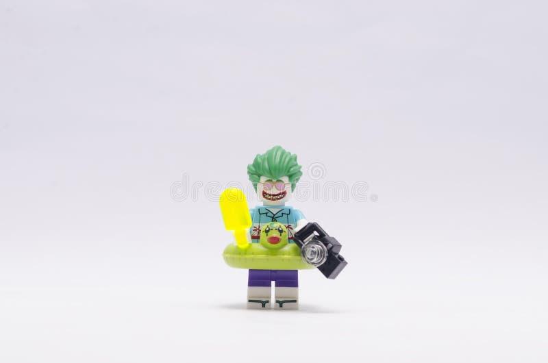 Lego vacation joker minifigures isolated on white background stock photo