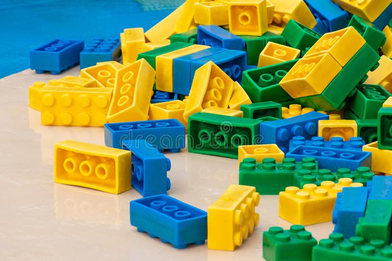 Legoland Dubai Colorful water Park amusement colorful lego large building blocks for luxury children and family vacations on a royalty free stock image