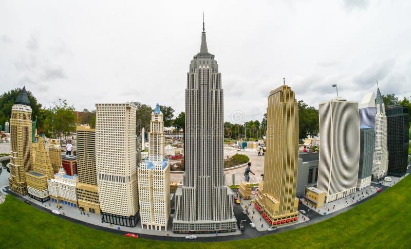 Legoland Florida Miniland de V.S. - de Horizon van New York royalty-vrije stock foto's