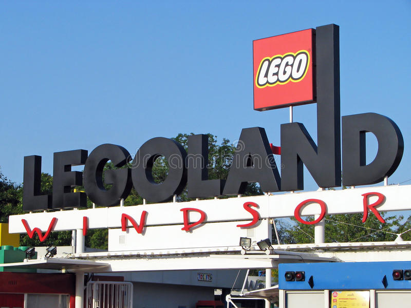 Legoland Windsor main gate. View of Main gate of Legoland Windosr, UK stock photo