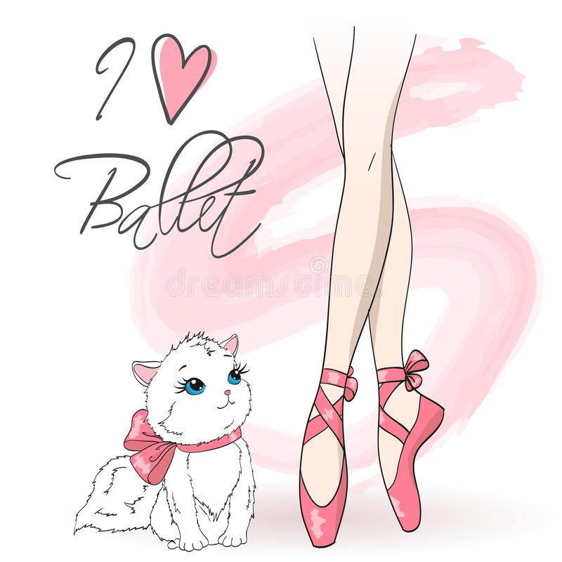 Legs of ballerina girl in pointe shoes with cute cat on background with an inscription I love ballet. vector illustration