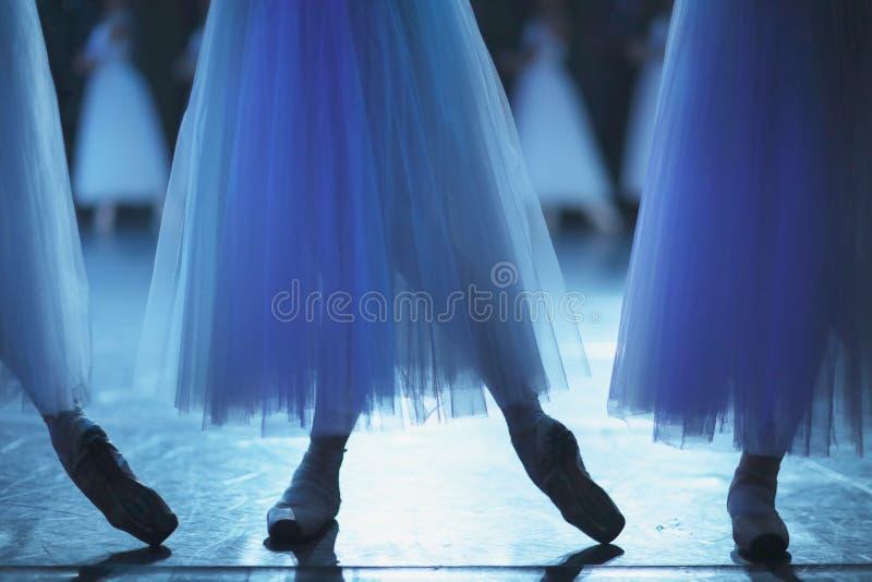Legs of ballet dancers corps de ballet in pointe shoes stock photos