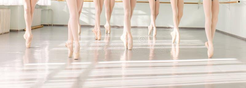 Legs of dancers ballerinas in class classical dance, ballet stock images