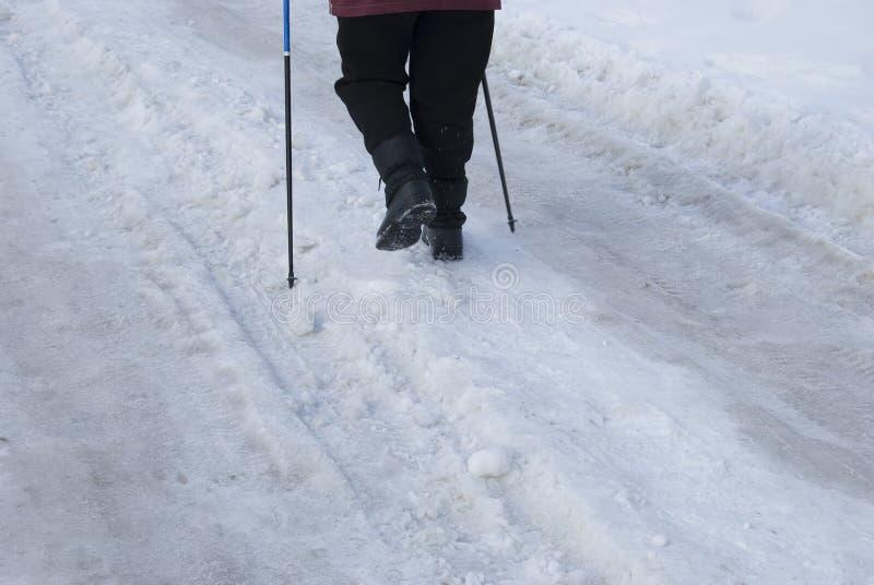 Legs of an elderly woman engaged in Scandinavian walking stock photography
