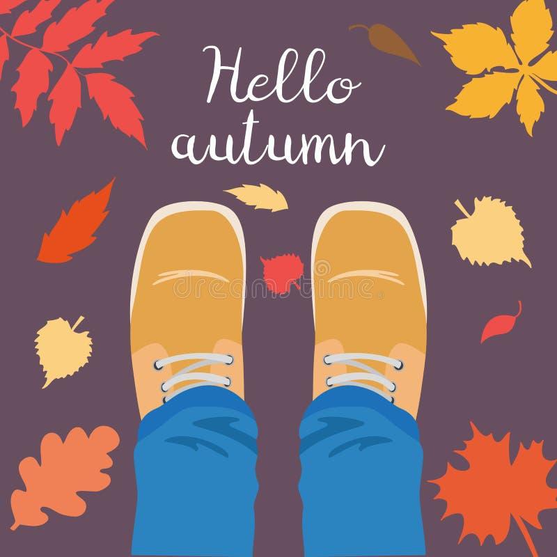 Legs and falling leaves around. Hello Autumn concept. Vector illustration stock illustration