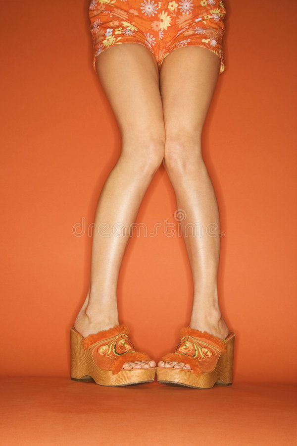 Legs and feet of Caucasian woman. stock photo