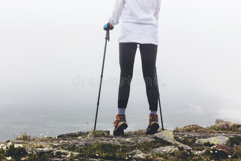 Legs of a girl during a walk. stock image