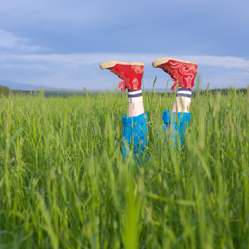 Legs, in a green grass. Under the blue sky royalty free stock photography