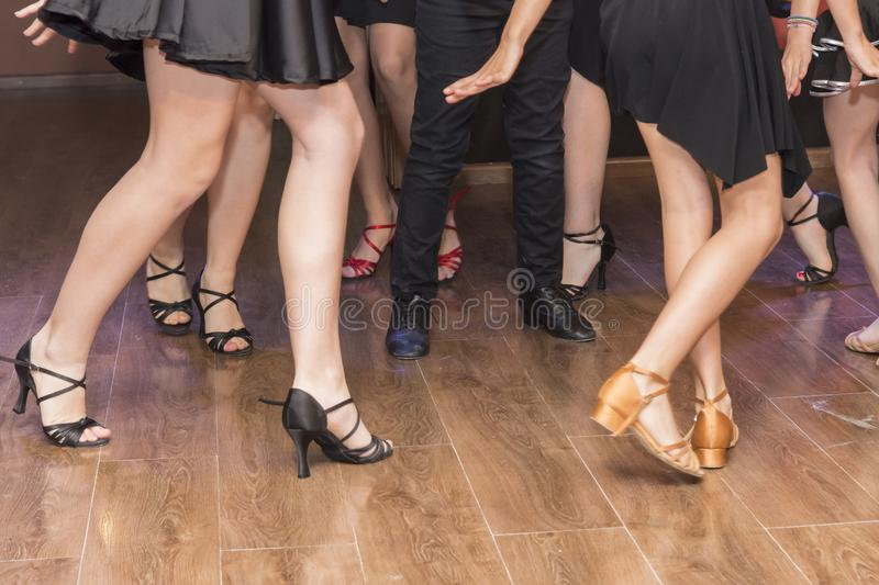 Legs of a group of young dancers royalty free stock photos