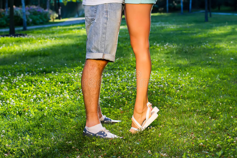 Legs of guy and girl. royalty free stock photos