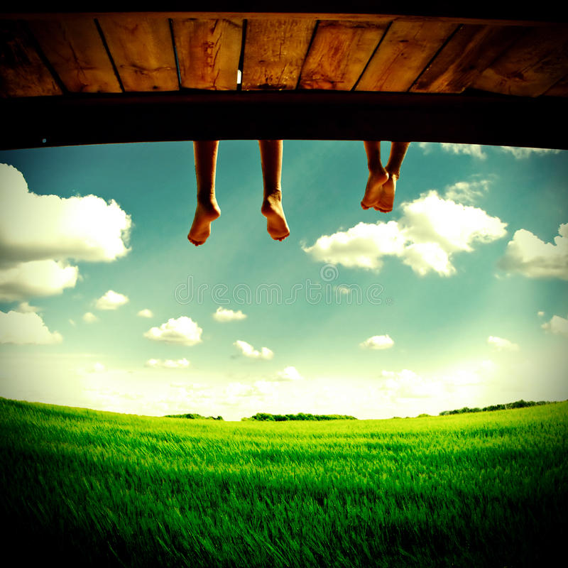 Legs hanging on Nature royalty free stock photo