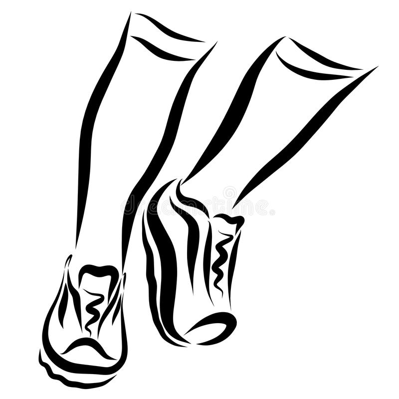 Legs of a running man in sports shoes.  royalty free illustration