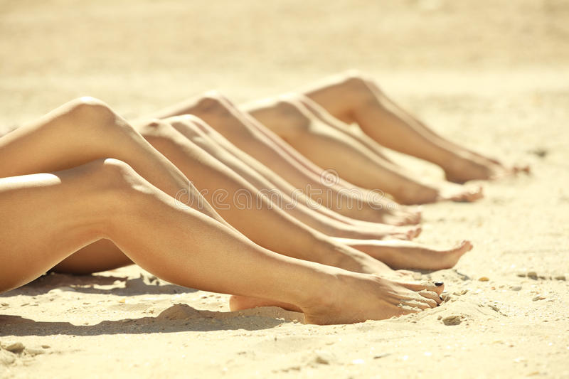 Download Legs of several girls stock image. Image of sand, leisure - 20176525