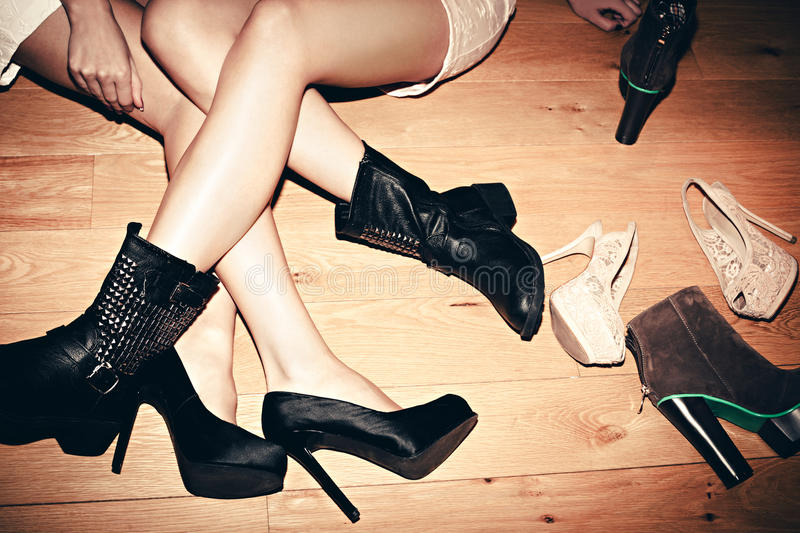 Download Legs and shoes stock photo. Image of floor, black, high - 28479966