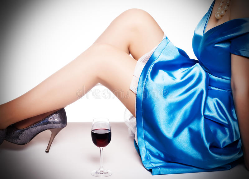 Download Legs In Shoes  And A Glass Of Red Wi Stock Photo - Image of glamour, alcohol: 14778102