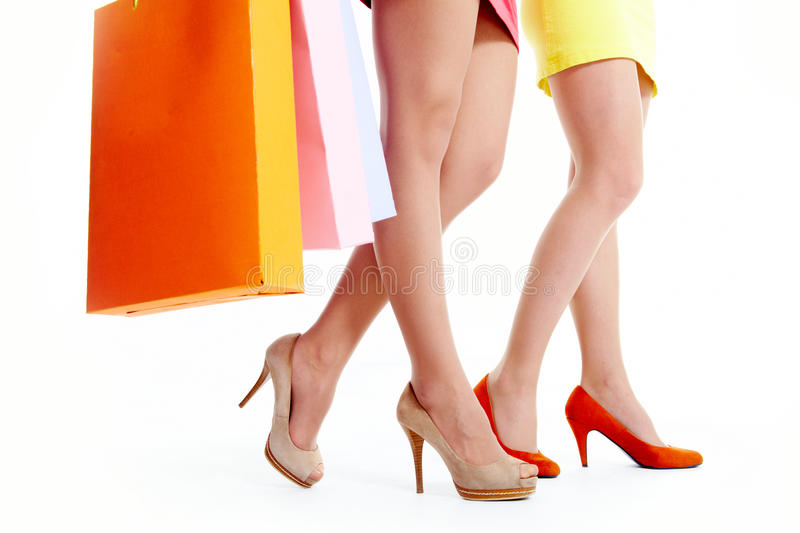 Download Legs of shoppers stock photo. Image of knee, posing, female - 21667646