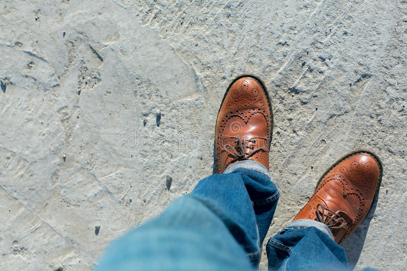 Legs top view. Foot and legs seen from above. Selfie royalty free stock photo