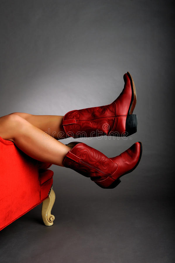 Free Legs Wearing Red Boots Stock Images - 9661564