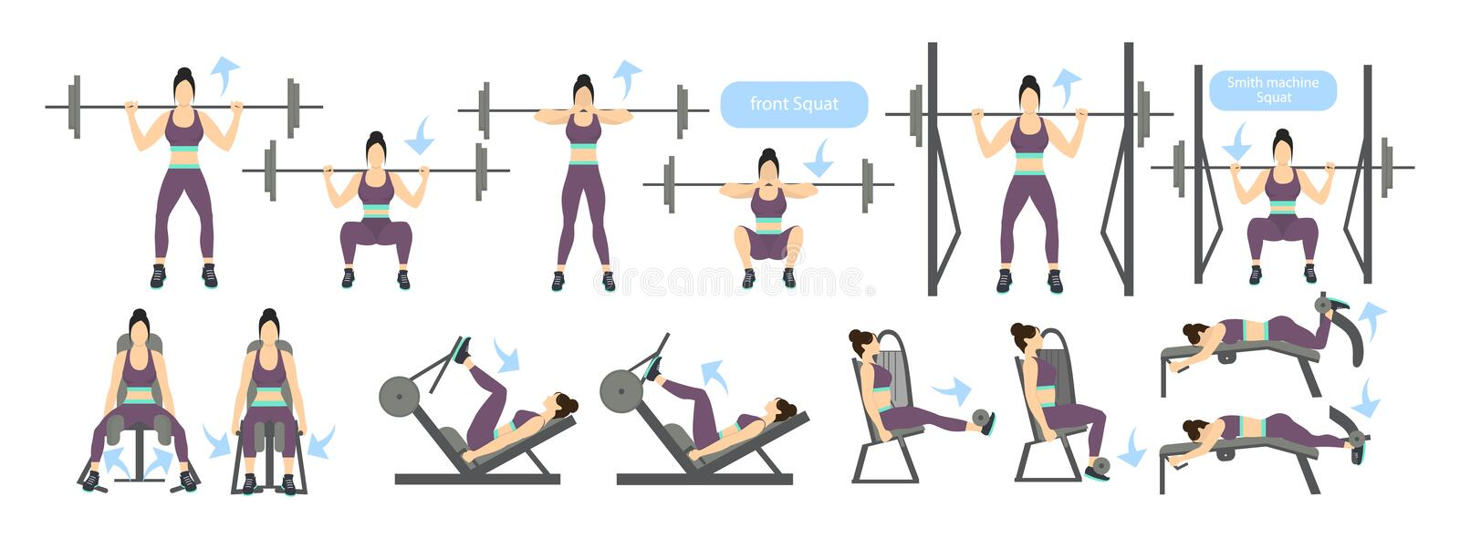 Legs workout with machines. royalty free illustration