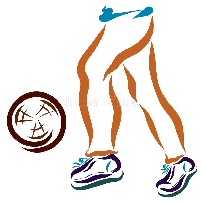 Legs of a young athlete running after the ball stock illustration