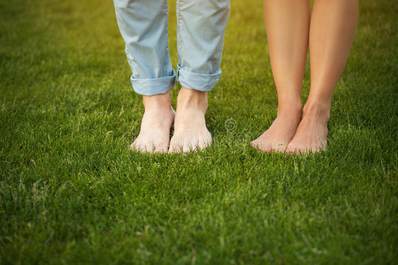 Legs of young couple stock photos