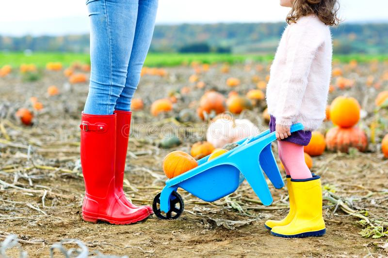 Legs of young woman and her little kid girl daugher in rainboots. Woman in red gum boots, child in yellow shoes. On royalty free stock photos