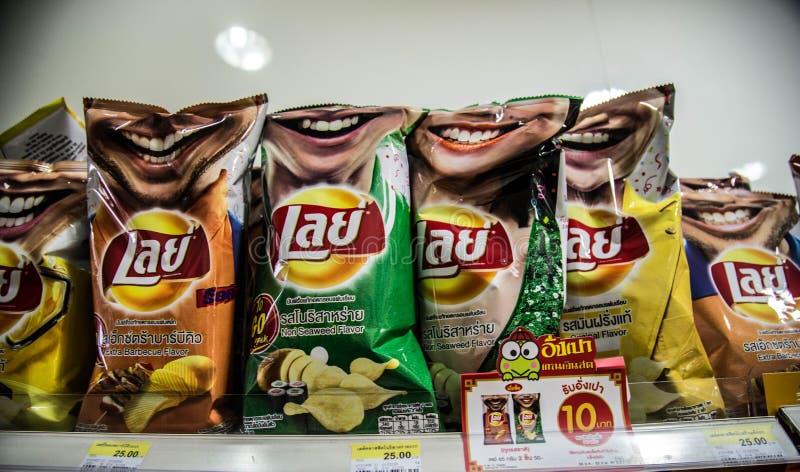 Legt Chips in Thailand stock afbeeldingen