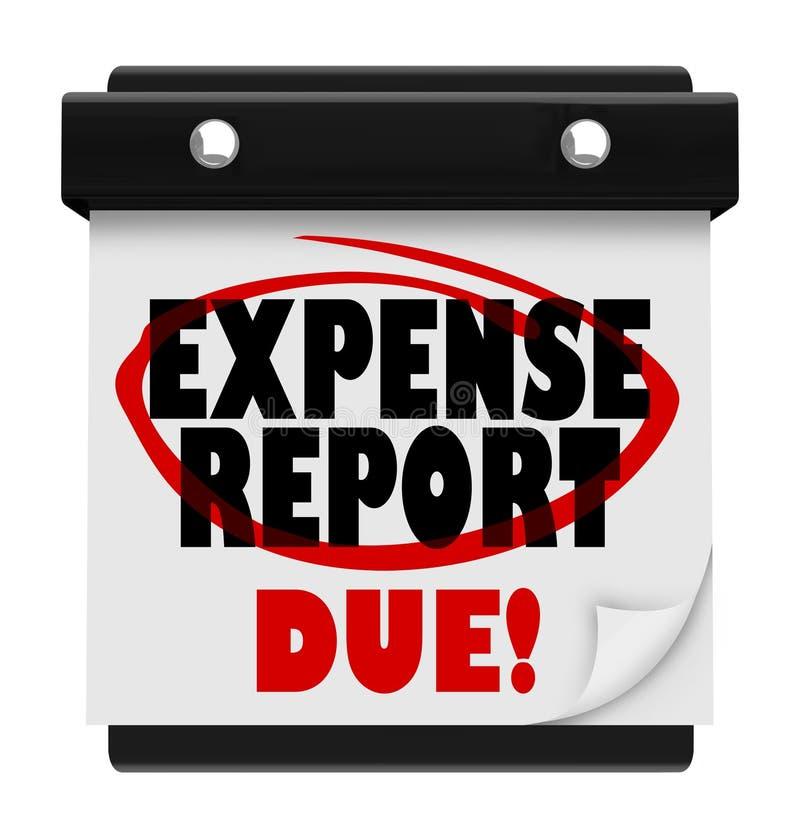 Legt de Uiterste termijn van de de Vervaldatumkalender van het uitgavenrapport voor vector illustratie