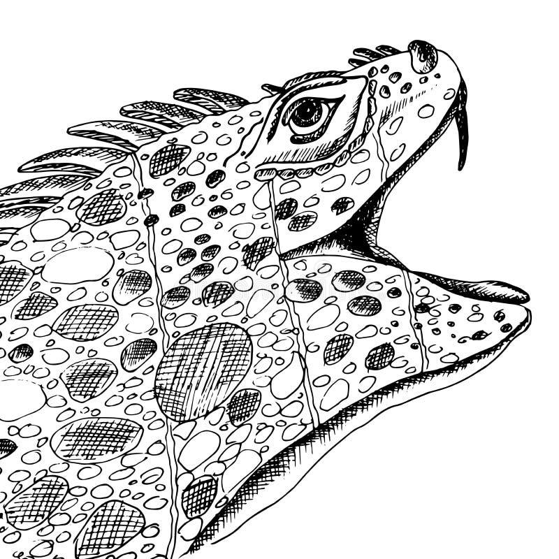 Leguan med hennes öppna mun Reptilar för tatueringar För skjorta- eller t-skjorta design royaltyfri illustrationer