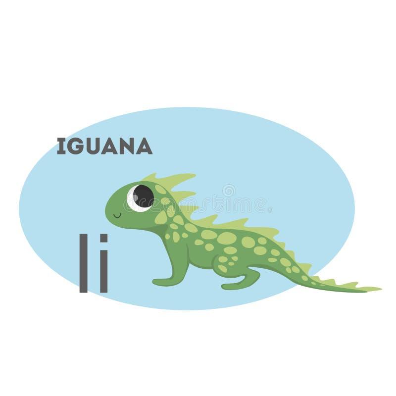 Leguan på alfabet vektor illustrationer