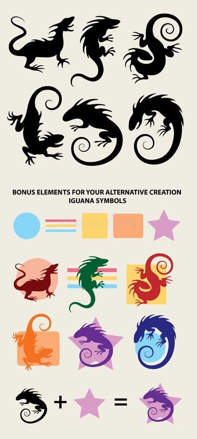 LeguanSilhouettesymboler vektor illustrationer