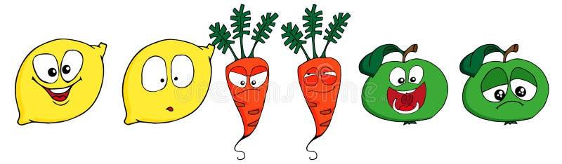 Legumbres de frutas divertidas - manzana, limón y zanahoria en estilo de la historieta Aislado en el fondo blanco stock de ilustración