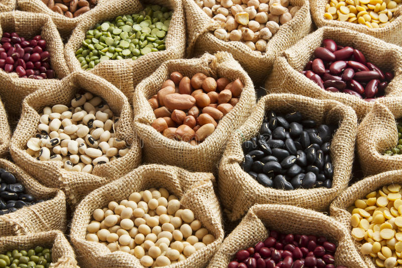 Legumes. Beans seed in linen sack royalty free stock images