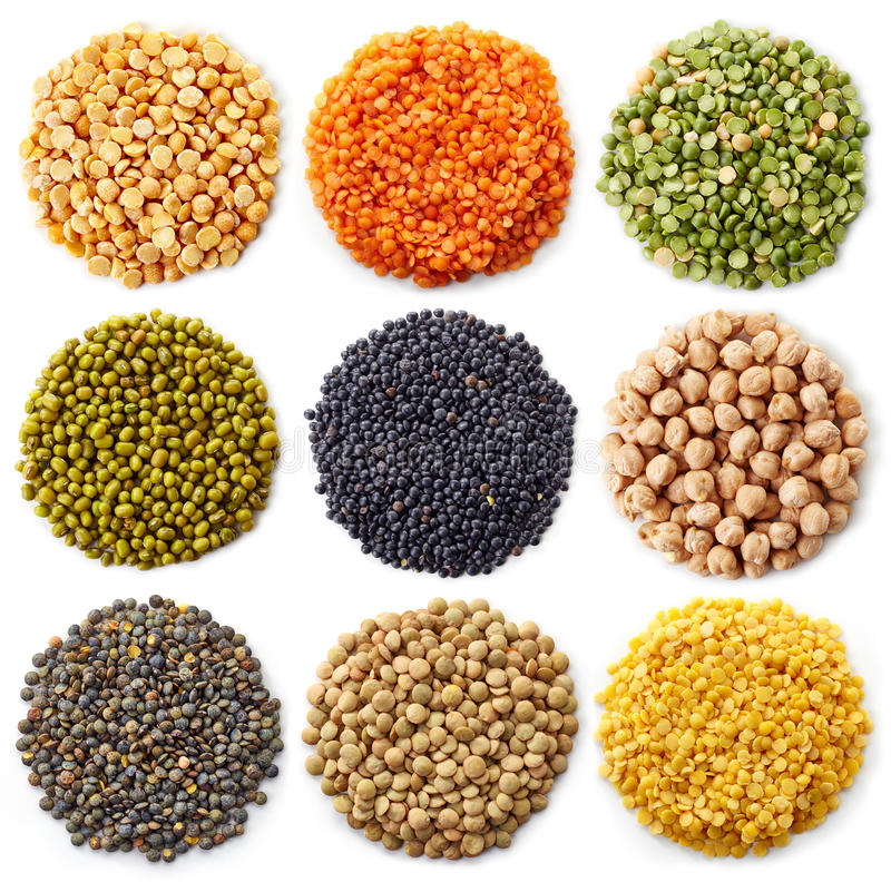 Legumes. Collection of legumes (chickpeas, green peas, red lentils, canadian lentils, indian lentils, black lentils, yellow lentils, yellow peas, red beans royalty free stock images